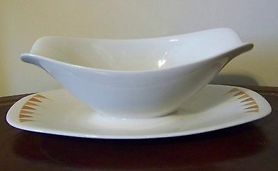 Iroquois Aztec Ben Seibel Gravy Boat with Attached Underplate RARE VTG Mod USA