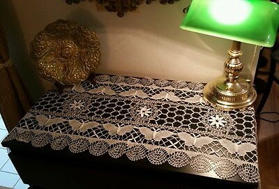 "Vintage Cluny Bobbib Lace Runner / Dresser Scarf 16x45"" White Antique Butterfly"