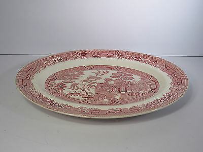 """W.R. MIDWINTER LTD - ENGLAND - OVAL CHINA PLATTER - RED  """"WILLOW"""" PATTERN - 12"""""""