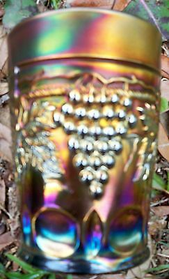 """Antique Northwood """"Grape and Cable"""" Carnival Glass Amethyst Tumbler~Super Color"""