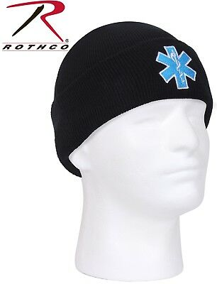 5922e9c5d21 Black Winter Acrylic Star Of Life Watch Cap Embroidered EMT EMS Paramedic  5346