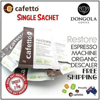 1 x 25g RESTORE DESCALER Coffee Espresso Machine & Equipment Cleaner by CAFETTO