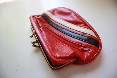 Vintage Fun Red Black and White Clasp Coin Purse / wallet
