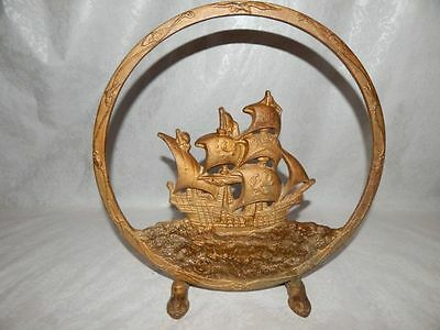 Vintage Painted Round Cast Iron Pirate Ship Fireplace Screen