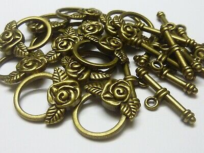 12 sets Antique Bronze Rose Metal Toggle Clasps 10mm  Jewellery Making