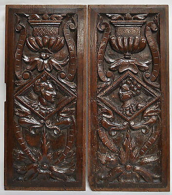 Pair of 16th century carved oak panels