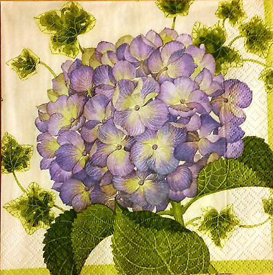 THREE (3) Hydrangea Flowers Luncheon Napkins for Decoupage and Paper Crafts