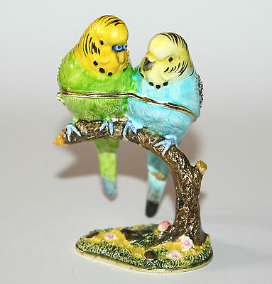 2 BUDGERIGAR Birds On Branch BudgiesTrinket Box / Ornament Gift *NEW*