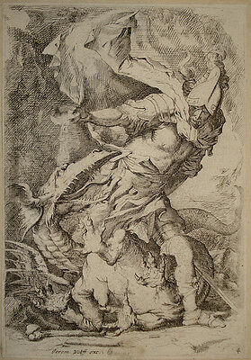 stampa antica old print after Salvator Rosa Wolff Giasone Jason 1690 radierung
