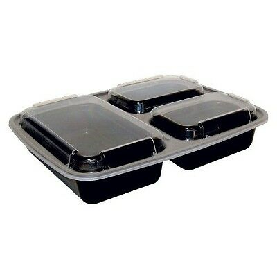 150ct. Newspring NC333BV Black 32oz 9x7 Compartment Rect Microwavable Containers