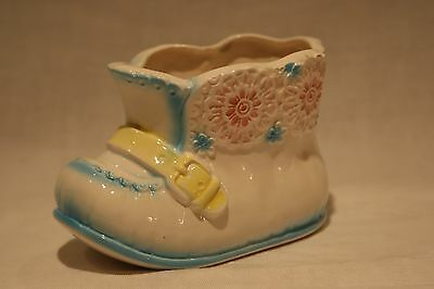 Vintage Blue, Pink and Yellow Ceramic Baby Shoe Planter 7913