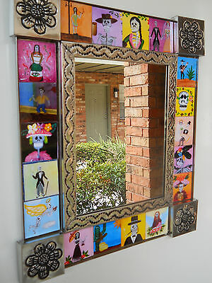hand punched tin mirror with  18 paintings OF DAY OF THE DEAD.GORGEOUS