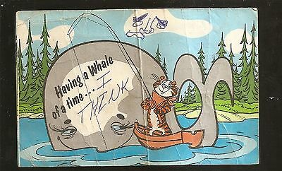 Vtg 1960's Postcard Tony the Tiger Kellogg's Cereal Having Whale of Time FISHING