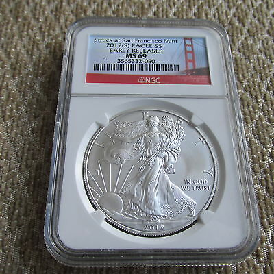 2012 S American Eagle NGC MS 69 Early Releases Golden Gate Label