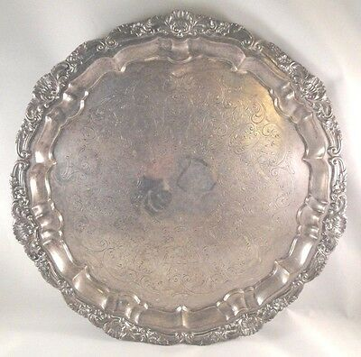 """POOLE Silver Plated Serving Tray 14"""" Heavy Footed EPCA 3210 Authentic Repro VTG"""