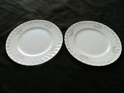 Gold Standard Genuine Porcelain China Pink Roses Salad Plates Japan Silver