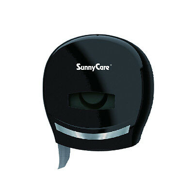 SunnyCare #8001B Black 9'' Jr Jumbo Roll Toilet Paper Towels Tissue Dispenser