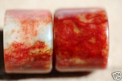 "Lot of 2 Chinese ""chicken blood"" stone thumb (archer's) rings"