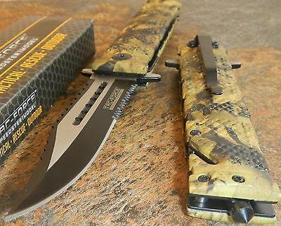 TAC FORCE Spring Assisted Open Sawback Bowie Rescue CAMO Tactical Pocket Knife