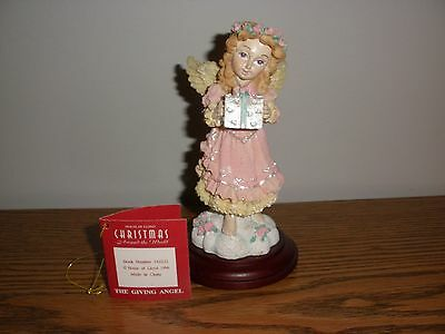 The House of Lloyd Giving Angel w/ Present Figurine on Wooden Base