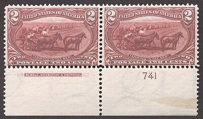 Top Stamp: US Scott #286 2 Cent  Trans Mississippi Pair 1898 Mint NH 2c /BB812