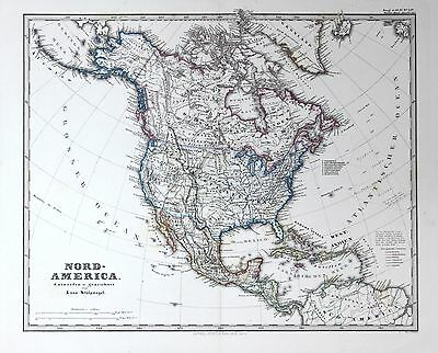 1870 - North America Nordamerika USA United States map Karte Stahlstich