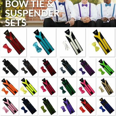 Men's Adjustable Elastic Suspenders Bow Tie Clip On Bows Unisex Trouser Braces
