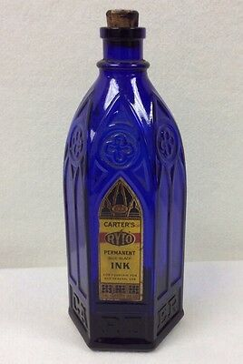 Carters RYTO Permanent (Blue-black) Cathedral Ink Bottle w/ Original Paper Label