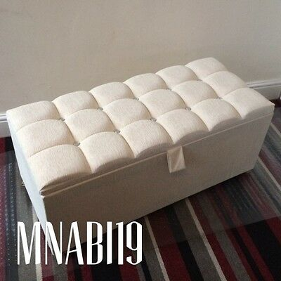 Chenille Ottoman 10 Diamond Cubed Storage Bedding Toy Box Bedroom Trunk Wood Bed