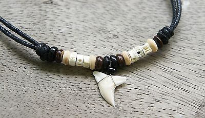 SHARK TOOTH NECKLACE earth tone bead beach islander surfer adjustable all size