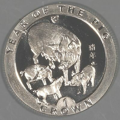 """Isle of Man 1995 """"Year of the Pig"""" 1 Crown Coin"""