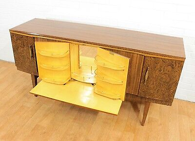 WOW!! Mid Century Burl Effect  Hidden Drinks Cabinet/Bar by Beautility.