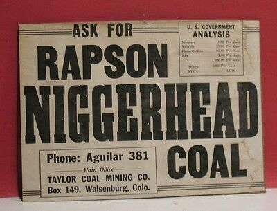 Rapson Negro-Head Coal Paper Sign - Taylor Coal Mining Co., Walsenburg Colorado