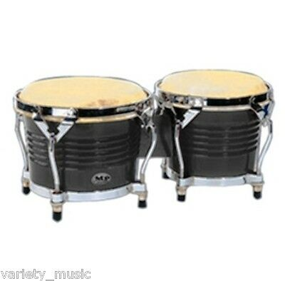 "MANO PERCUSSION - Tunable Bongo Drums 7"" & 8"" natural skin heads. Black, Bongos"