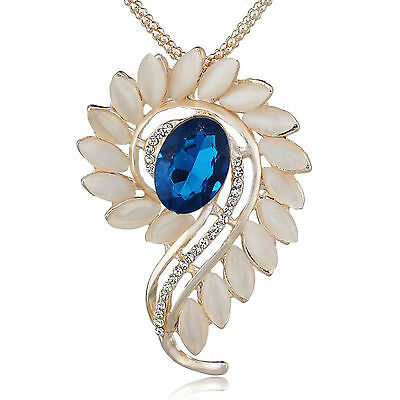 Blue Crystal Opals Flower Floral Rose Gold Long Chain Pendant Necklace M241