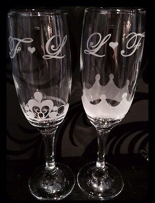 Personalised Wedding Prosecco Champagne Flutes King & Queen Crowns Handmade Gift
