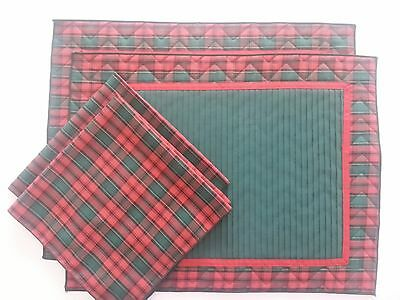 Placemats & Napkins (2 ea)  Red/Green/Gold Plaid Red ribbon EUC