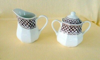 J & G Meakin WICKER Staffordwhite Sugar Bowl with Lid and Creamer