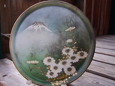 Antique porcelain plate hand painted mountain flowers beaded edge cabin, cottage