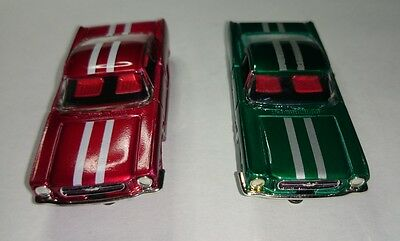 Model Motoring Mustang Fastback Set Pair - Candy Red & Green w/White Stripes