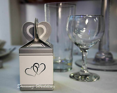 100 Silver Wedding Favour Favor Sweet Cake Candy Gift Box Bags Engagement Party