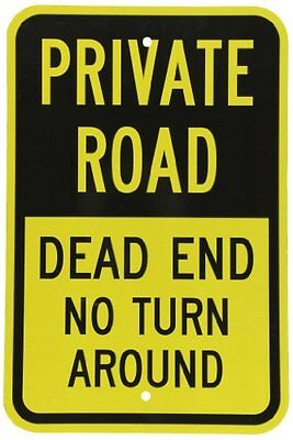 "SmartSign 3M Engineer Grade Reflective Sign  Legend ""Private Road - Dead End No"