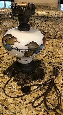 Rare 1960's LG Wright Handpainted Milk Glass Lamp Base Marked Early American