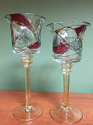 Partylite Mosaic Candlestick Duo Candleholders, Set 2, RETIRED