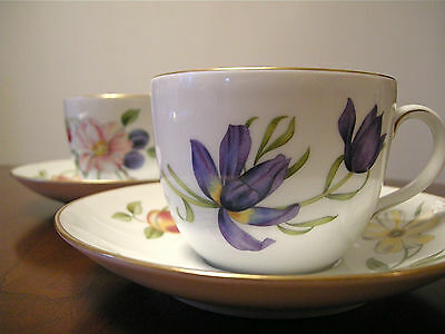"""Royal Worcester """"Pershore"""" Cups & Saucers ~ 2 Sets"""