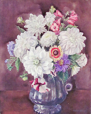 Marion Broom - Colorful Bouquet Listed Artist Watercolor - C. 1920 - No Reserve