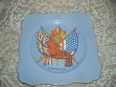 Royal Winton Grimwades CANADA plate featuring The Union Jack & Old Glory Flags