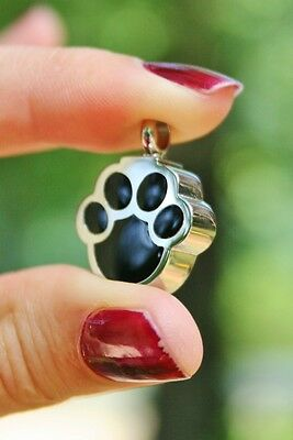 Stainless Steel Paw Print Pet Cremation Pendant Urn Jewelry Dog Cat Memorial