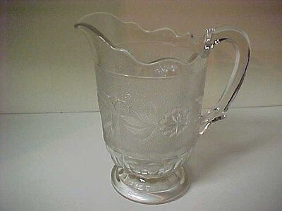 """Nice Vintage Pressed Pattern Glass Water Pitcher 8 1/2"""" High"""