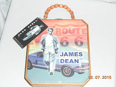 JAMES DEAN WOOD  & CLOTH WOOD BEADED HANDLE PURSE